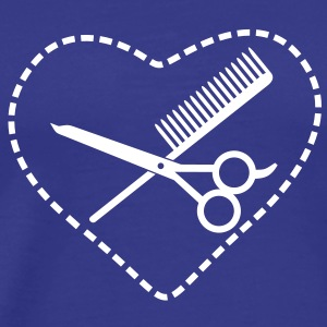 scissors & comb in a heart (1c) T-Shirts - Men's Premium T-Shirt