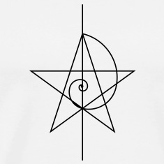 Pentagram, five star, spiral, alchemy, magic, witches, character, fibonacci, compasses, gothic, pagan T-Shirts