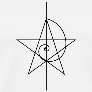 Pentagram, five star, spiral, alchemy, magic, witches, character, fibonacci, compasses, gothic, pagan T-Shirts - Men's Premium T-Shirt