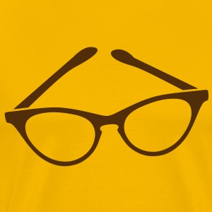 retro funky seeing eye cat eyes glasses librarian T-Shirts - Men's Premium T-Shirt