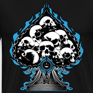 Blue Flaming Spade with Skulls T-Shirts - Men's Premium T-Shirt