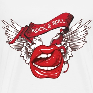 Rock N Roll Winged Lips T-Shirts - Men's Premium T-Shirt