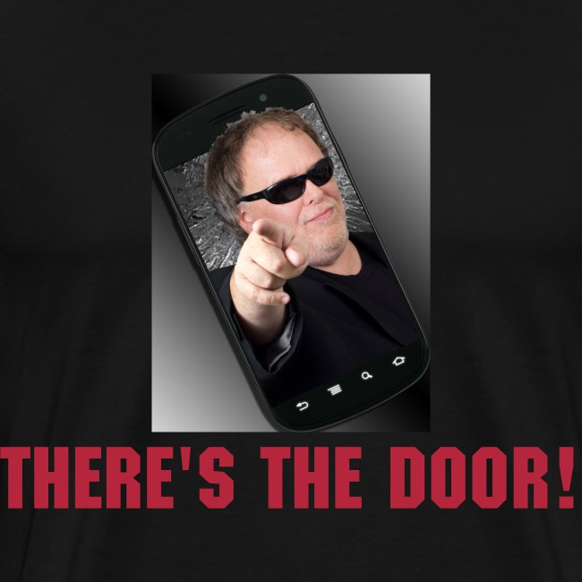 """""""THERE'S THE DOOR!"""" Men's Heavyweight T-Shirt. Leykis 101 logo on back."""