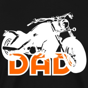 Biker DAD White/Orange Motorcycle Shirt WB - Men's Premium T-Shirt