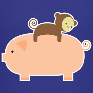 Baby Monkey Riding Backwards on a Pig - Kids' Premium T-Shirt