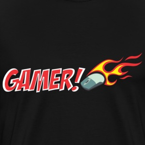 Gamer Logo Mouse Flame T-Shirts - Men's Premium T-Shirt