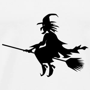 Halloween witch flying on a broom stick T-Shirts - Men's Premium T-Shirt