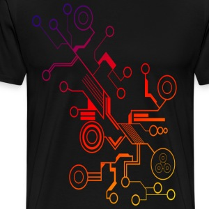 Colorful Circuit LARGE PRINT T-Shirts - Men's Premium T-Shirt
