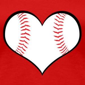 Women's Baseball Heart T-Shirt - Women's Premium T-Shirt