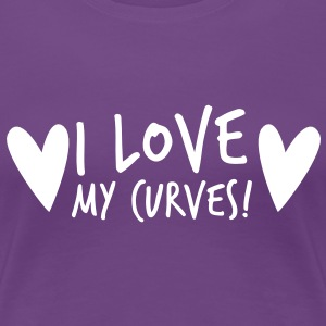 i love my curves with funky hearts Women's T-Shirts - Women's Premium T-Shirt