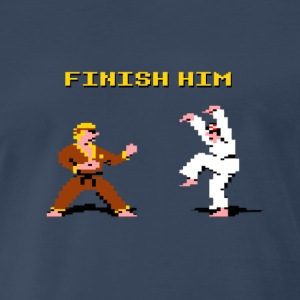 8 bit Karate Kid Finish Him Shirt - Men's Premium T-Shirt