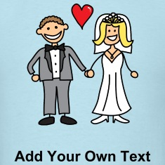 Bride and Groom Cartoon - Add Your Own Text T-Shirts