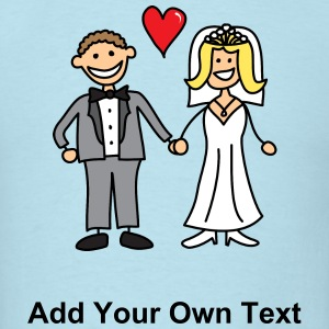 Bride and Groom Cartoon - Add Your Own Text T-Shirts - Men's T-Shirt