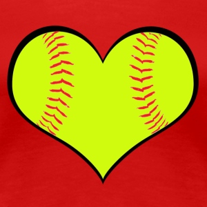 Women's Softball Heart T-Shirt - Women's Premium T-Shirt