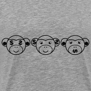 Three Unwise Monkeys (Dollar, black) T-Shirts - Men's Premium T-Shirt