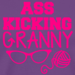 ass kicking granny with knitting ball of wool T-Shirts - Men's Premium T-Shirt