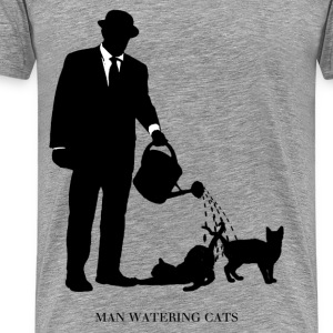 Man Watering Cats - Men's Premium T-Shirt