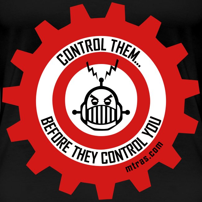 MTRAS Control The Robots Black, Red & White - Women's XL Tshirt