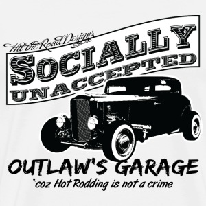 Outlaw's Garage. Socially unaccepted Hot Rods. - Men's Premium T-Shirt