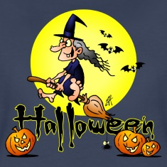Halloween, witch on a broom, bats and pumpkins Wom