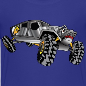 cartoon 4x4 rock crawler race truck, grey - Kids' Premium T-Shirt