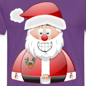 Smily Santa with father christmas badge & Raindeer - Men's Premium T-Shirt