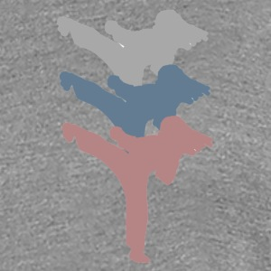 3 Kicks Martial Arts Ladies, heather gray - Women's Premium T-Shirt