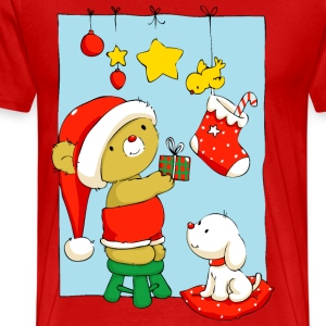 Christmas Bear doing Christmas decorations T-Shirt - Men's Premium T-Shirt