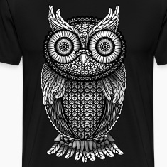ornamental Owl Design black and white T-Shirts