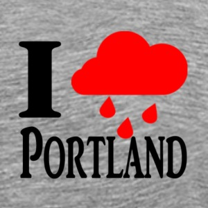 i love (rain) (Heart) portland - Men's Premium T-Shirt