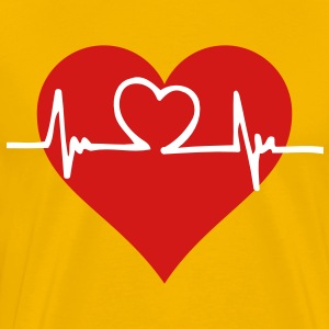 Heart with beating heart pulse on a yellow t-shirt - Men's Premium T-Shirt