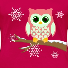 Pink winter owl women's plus size t-shirt