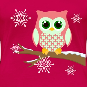Pink winter owl women's plus size t-shirt - Women's Premium T-Shirt