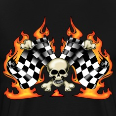 race finish flags with skull