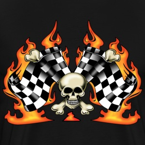 race finish flags with skull - Men's Premium T-Shirt