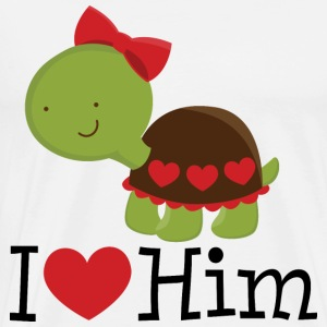 I Heart Him (Turtle) Womens T Shirt | Matching Dat - Men's Premium T-Shirt