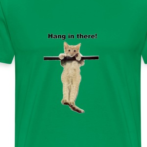 hang in there baby cute kitty cat kitten on branch - Men's Premium T-Shirt
