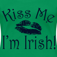 Design ~ Plus Size Glitter Kiss Me I'm Irish Women's Tshirt