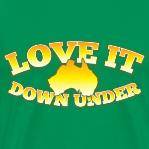 LOVE IT DOWN UNDER with Australian Australia map T-Shirts - Men's Premium T-Shirt