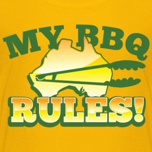 MY BBQ RULES with tongs barbecue aussie map Kids' Shirts - Kids' Premium T-Shirt