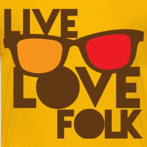 LIVE LOVE FOLK with nerdy glasses Kids' Shirts - Kids' Premium T-Shirt