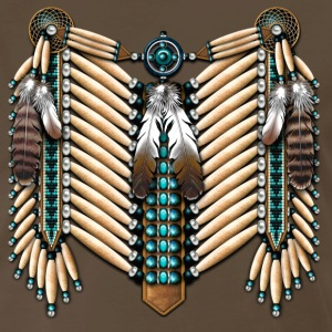 Turquoise & Bone Native American Breastplate - Men's Premium T-Shirt