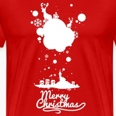 Christmas symbols with snow and merry christmas T-