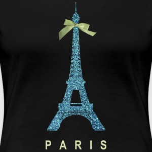 Blue Paris Eiffel Tower with bow Women's T-Shirts - Women's Premium T-Shirt