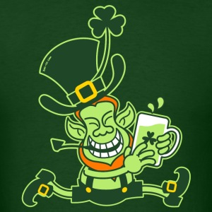 Green Leprechaun Running with Beer T-Shirts - Men's T-Shirt
