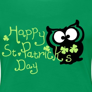 Happy St. Patrick's day owl bird Women's Plus Size - Women's Premium T-Shirt