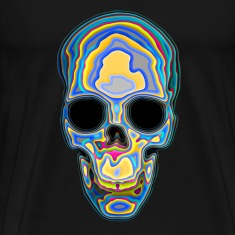 Psychedelic Colored Trippy Skull Design T-Shirts
