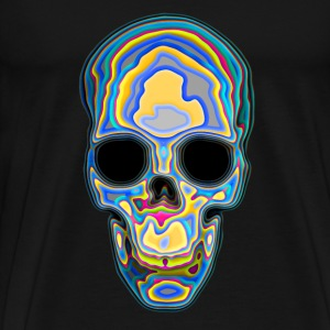 Psychedelic Colored Trippy Skull Design T-Shirts - Men's Premium T-Shirt