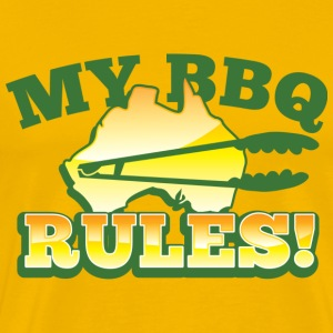 MY BBQ RULES with tongs barbecue aussie map T-Shirts - Men's Premium T-Shirt