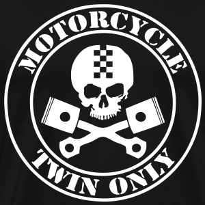 Moto motorcycle twin only, skull et piston - Men's Premium T-Shirt